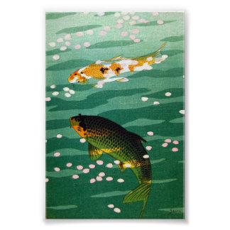 Cool oriental lucky koi fishes emerald water art posters