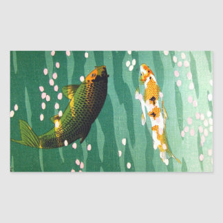 Cool oriental lucky koi fishes emerald water art rectangular sticker