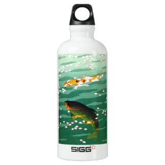 Cool oriental lucky koi fishes emerald water art water bottle