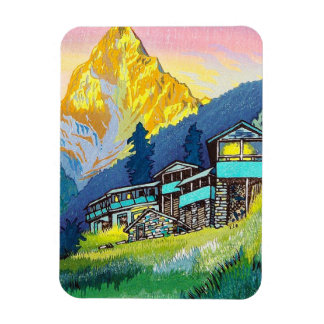 Cool oriental mountain scenery sunset classic art magnet