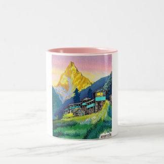 Cool oriental mountain scenery sunset classic art Two-Tone coffee mug
