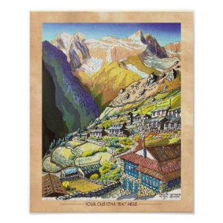 Cool oriental Namche Bazar Nepal mountain art Posters