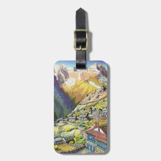 Cool oriental namche bazar nepal village mountain bag tag