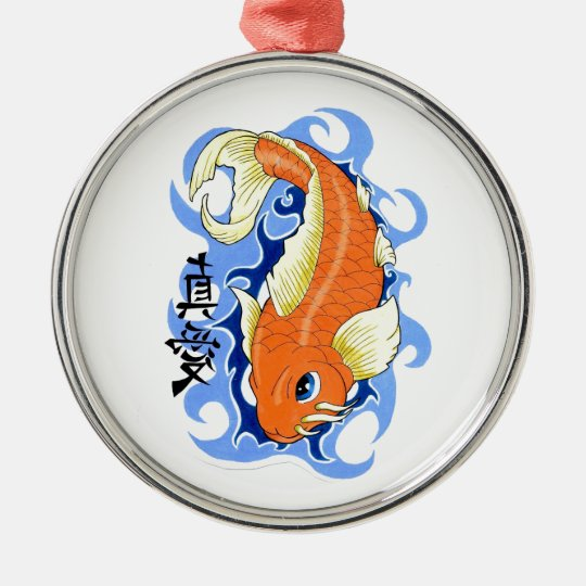 Cool Oriental Orange Classic Japanese Koi Fish Metal Ornament