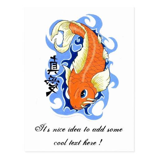 Cool Oriental Orange Classic Japanese Koi Fish Postcard