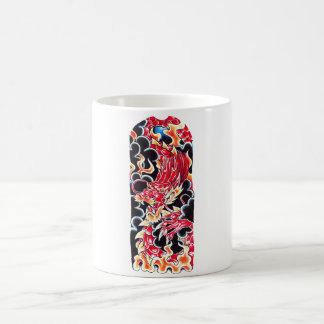 Cool Oriental Red Dragon Flame tattoo Coffee Mug