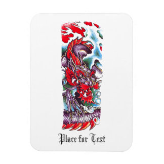 Cool Oriental Red Dragon in water tattoo Magnet