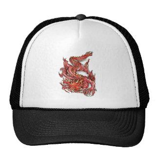 Cool Oriental Red Dragon Tattoo Trucker Hats
