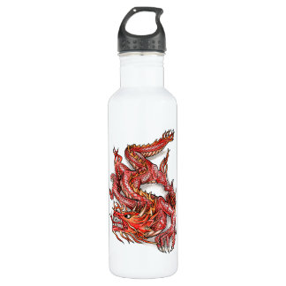 Cool Oriental Red Dragon Tattoo Stainless Steel Water Bottle