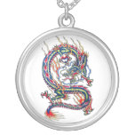 Cool Oriental Red Dragon with Orb tattoo Round Pendant Necklace