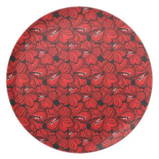 Cool  oriental red flowersplate plates