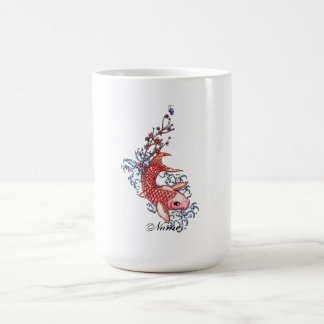Cool Oriental Red Koi Carp Fish flowers tattoo Coffee Mug