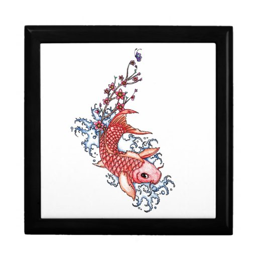 Cool oriental red koi carp fish flowers tattoo gift box for Cool fishing gifts