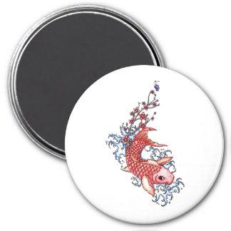 Cool Oriental Red Koi Carp Fish flowers tattoo 3 Inch Round Magnet