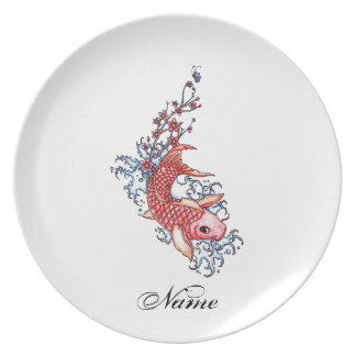 Cool Oriental Red Koi Carp Fish flowers tattoo Plate