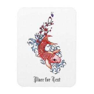 Cool Oriental Red Koi Carp Fish flowers tattoo Rectangular Photo Magnet