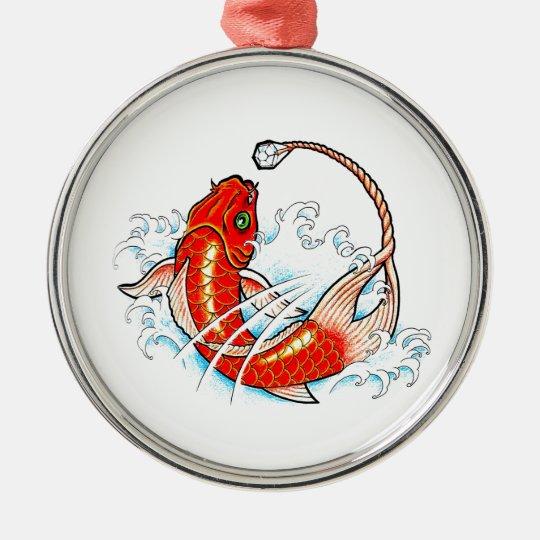 Cool Oriental Red Koi Fish Carp Diamond Tail Metal Ornament