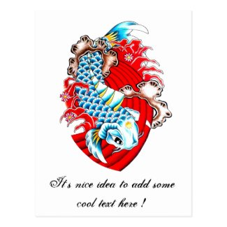 Cool Oriental Red Koi Fish Carp tattoo Postcards