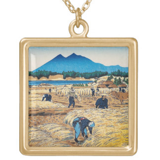 Cool oriental Shiro Kasamatsu Harvest Time art Gold Plated Necklace