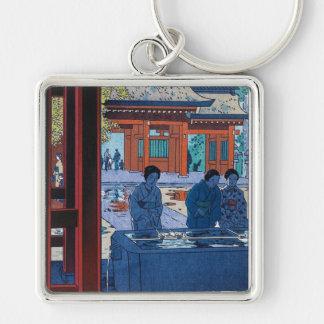 Cool oriental Shiro Kasamatsu Marketplace scene Silver-Colored Square Keychain