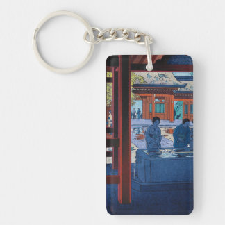 Cool oriental Shiro Kasamatsu Marketplace scene Double-Sided Rectangular Acrylic Keychain