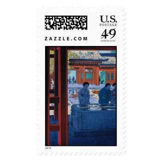 Cool oriental Shiro Kasamatsu Marketplace scene Stamp