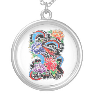 Cool oriental snake with lotus flower tattoo round pendant necklace