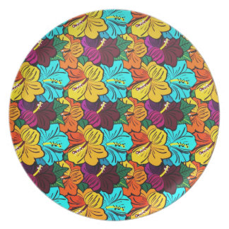 Cool  oriental spring colourful flowers plate