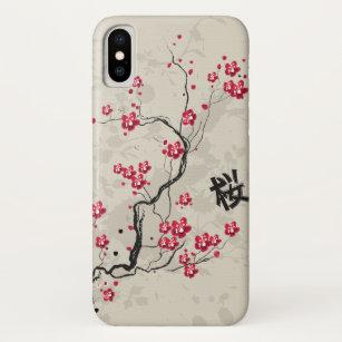 14b4861793 Cool Oriental Style Sakura Cherry Blossom Art iPhone XS Case