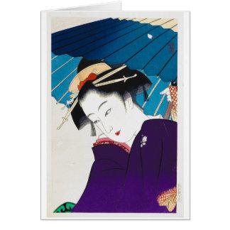 Cool oriental Takane Koko Geisha with Umbrella Card