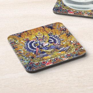 Cool oriental tangka Yamantaka death god tattoo Beverage Coaster