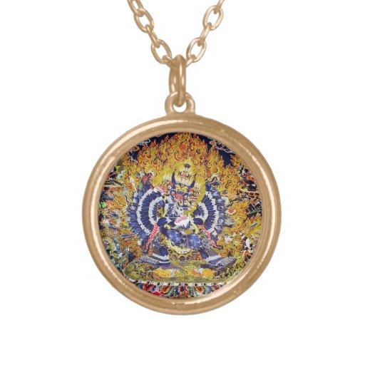 Cool oriental tangka Yamantaka death god tattoo Round Pendant Necklace