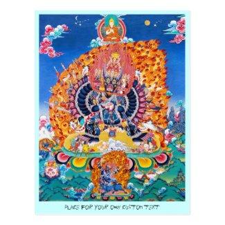 Cool oriental tangka Yamantaka death god tattoo Post Card