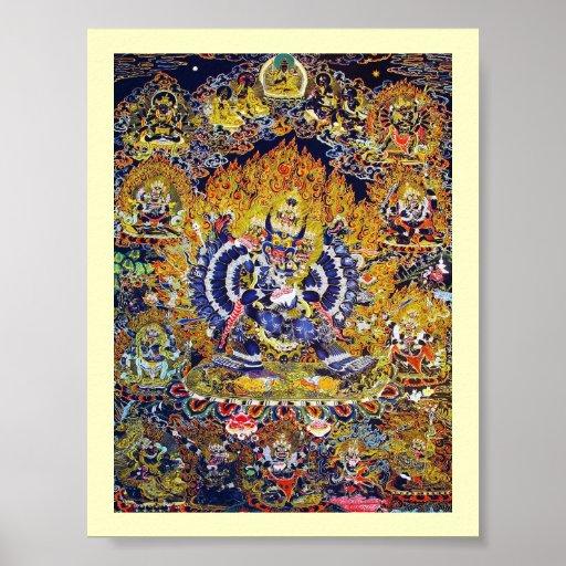 Cool oriental tangka Yamantaka death god tattoo Poster