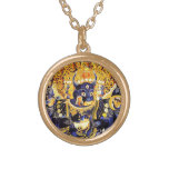 Cool oriental tangka Yamantaka death god tattoo Round Pendant Necklace