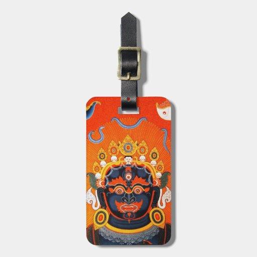 Cool oriental tibetan thangka Bhairava tattoo art Travel Bag Tags