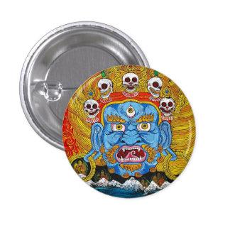 Cool oriental tibetan thangka demon tattoo art button