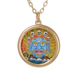 Cool oriental tibetan thangka demon tattoo art gold plated necklace