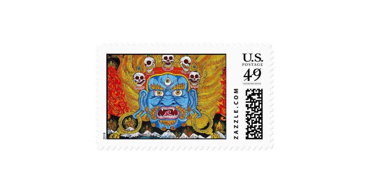cool oriental tibetan thangka demon tattoo art postage zazzle. Black Bedroom Furniture Sets. Home Design Ideas