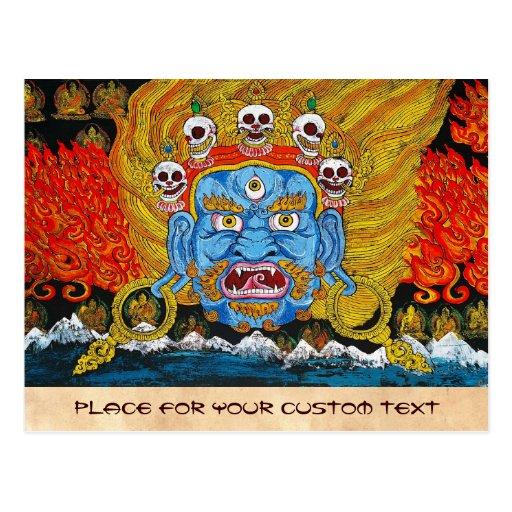 Cool oriental tibetan thangka demon tattoo art postcard