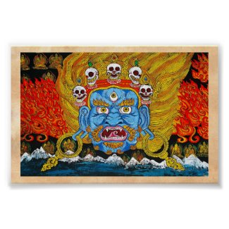 Cool oriental tibetan thangka demon tattoo art print