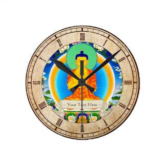 Cool oriental tibetan thangka god tattoo art round wallclock