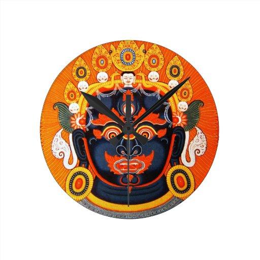 Cool oriental tibetan thangka god tattoo art wallclocks