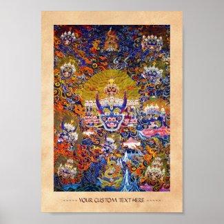 Cool oriental tibetan thangka god tattoo art poster