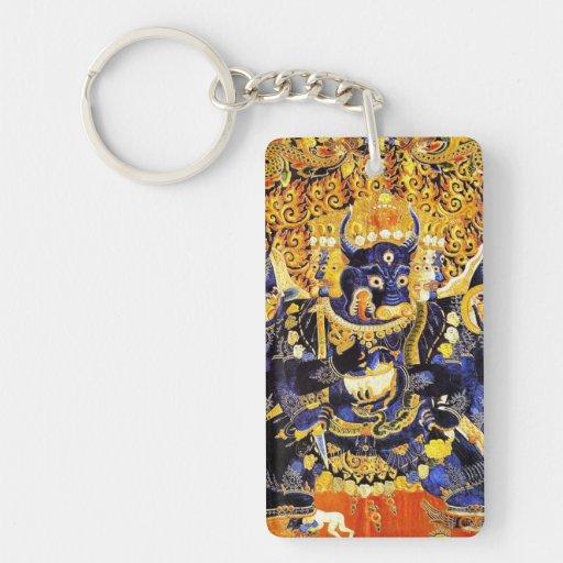 Cool oriental tibetan thangka god tattoo art tibet Double-Sided rectangular acrylic keychain