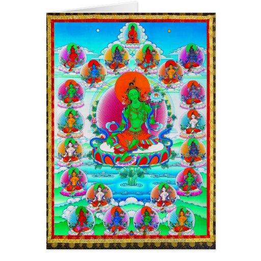 Cool oriental tibetan thangka Green Tara  tattoo Cards