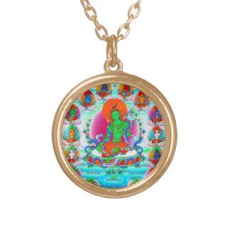 Cool oriental tibetan thangka Green Tara  tattoo Gold Plated Necklace