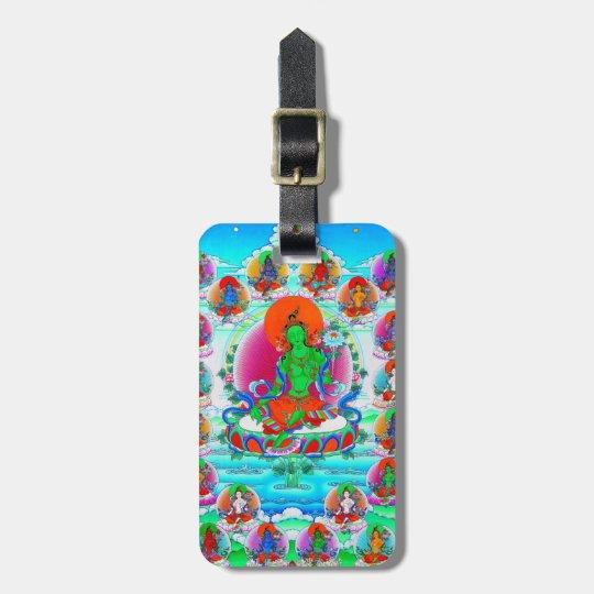 Cool oriental tibetan thangka Green Tara  tattoo Luggage Tag