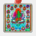 Cool oriental tibetan thangka Green Tara  tattoo Square Metal Christmas Ornament