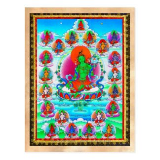 Cool oriental tibetan thangka Green Tara  tattoo Postcard